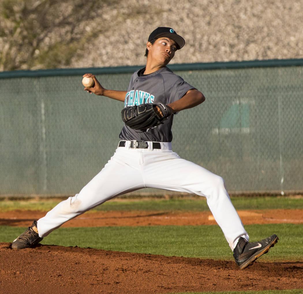 Silverado pitcher Jerald Murray (38) throws the ball during a baseball game against Bonanza ...