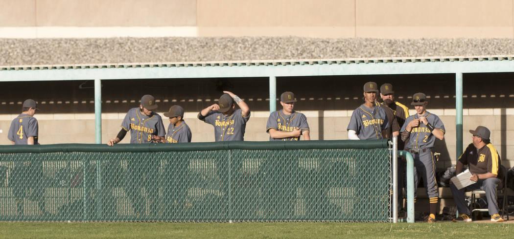 The Bonanza High School baseball team waits in the dugout during a baseball game against Sil ...