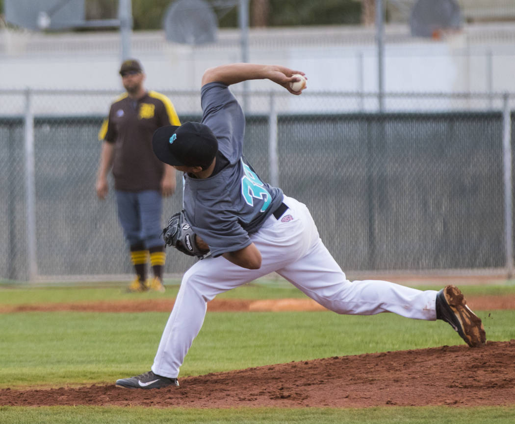 Silverado pitcher Jerald Murray (38) pitches the ball during a baseball game against Bonanza ...
