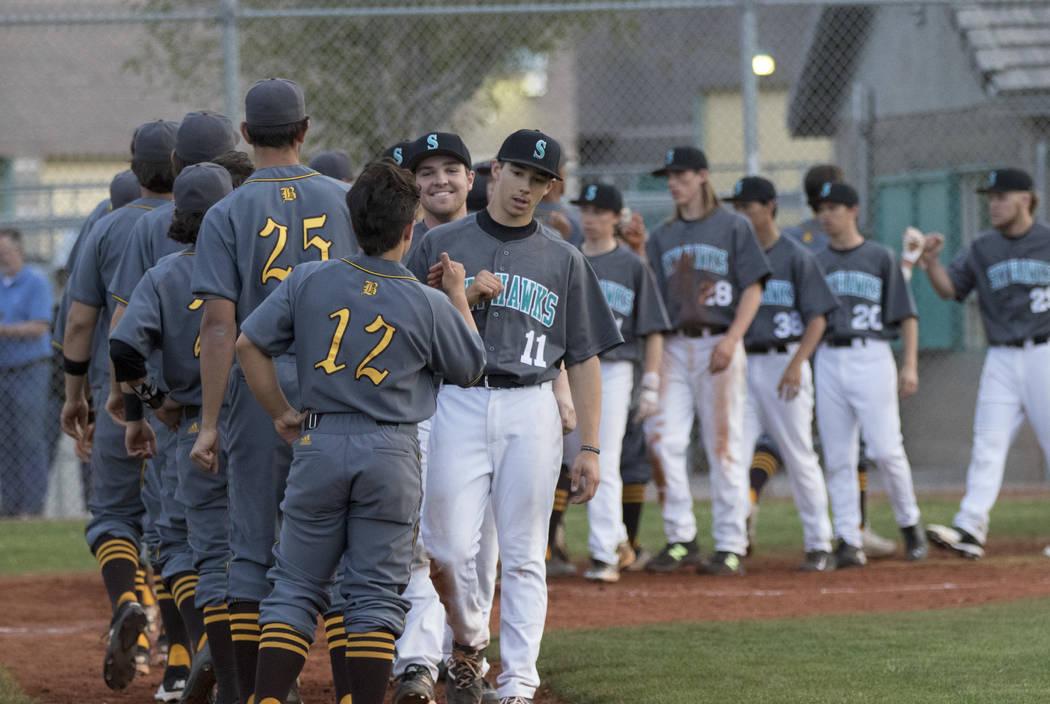 Bonanza players congratulate Silverado players after a baseball game at Silverado High Schoo ...
