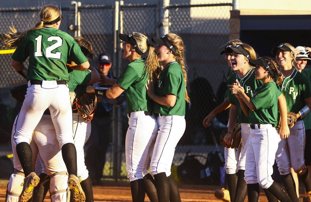 The Palo Verde softball team celebrates their win after a game against Shadow Ridge High Sch ...