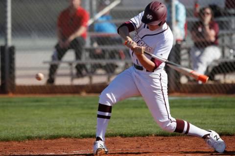Cimarron-Memorial's Noah Parker (19) swings during a high school baseball game against ...