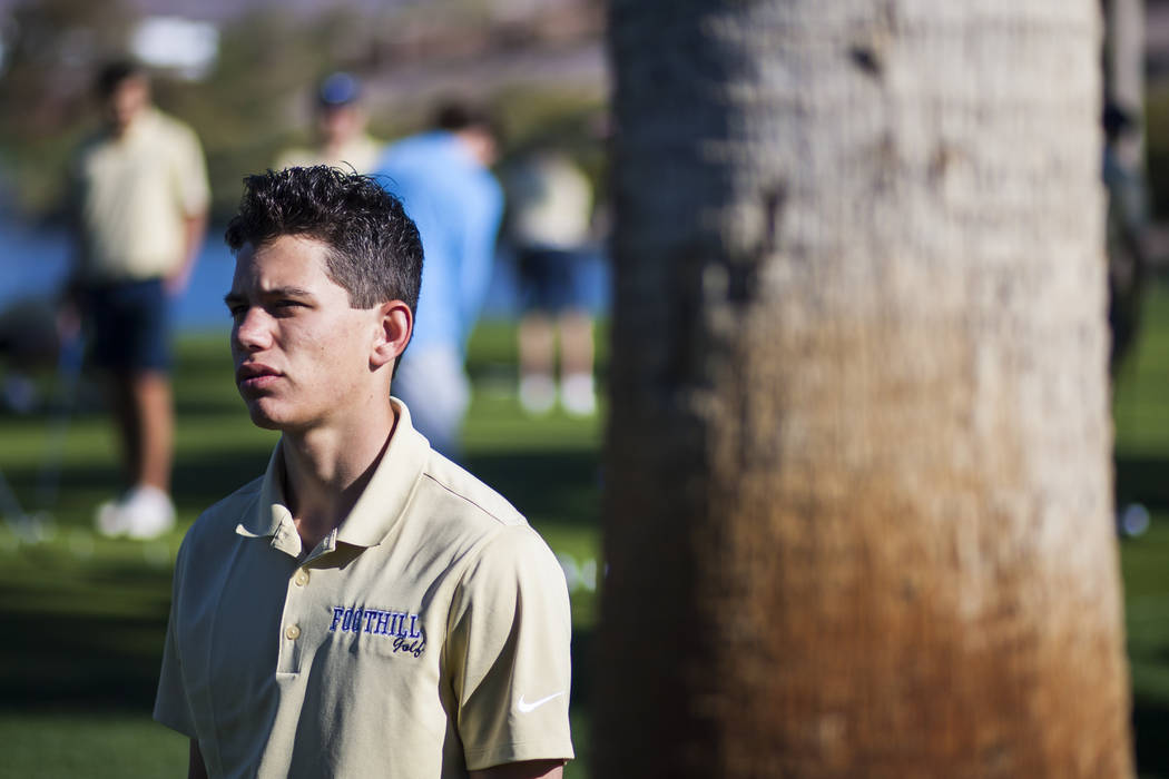 Foothill sophomore Noah MacFawn at Chimera Golf Club in Henderson on Monday, March 6, 2017. ...