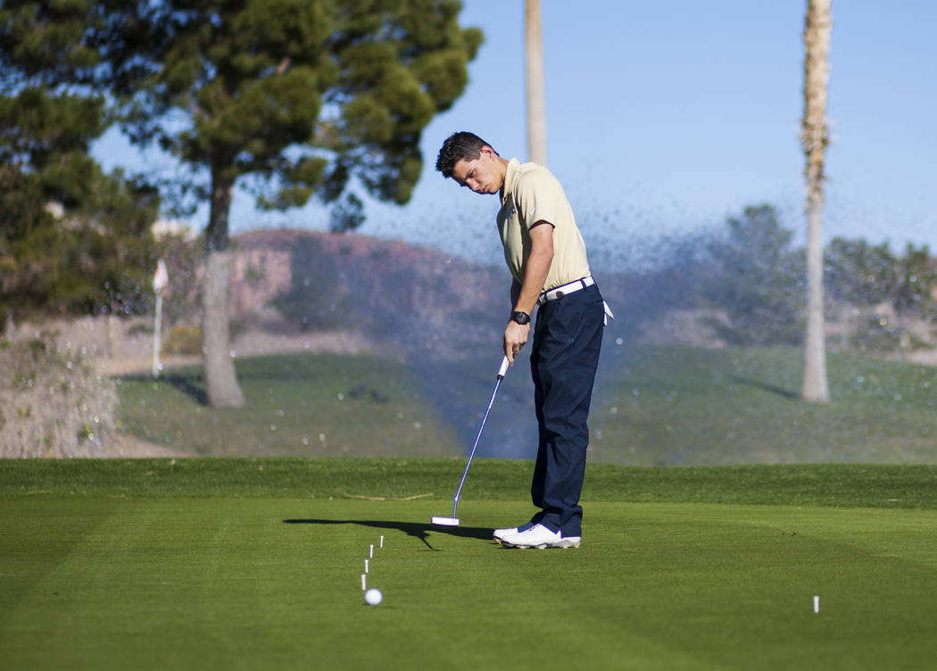 Foothill sophomore Noah MacFawn goes through drills during practice at Chimera Golf Club in ...