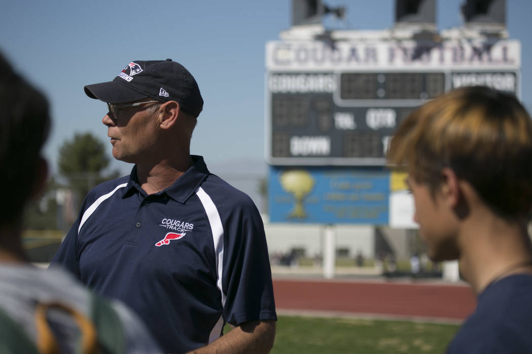 Head coach Rick Teller talks to the team during a track and field practice at Coronado High ...