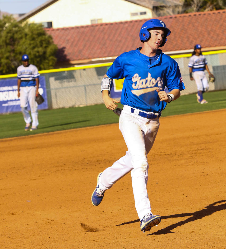 Green Valley outfielder Frankie Fitzgerald (3) runs past third after hitting a home run in t ...