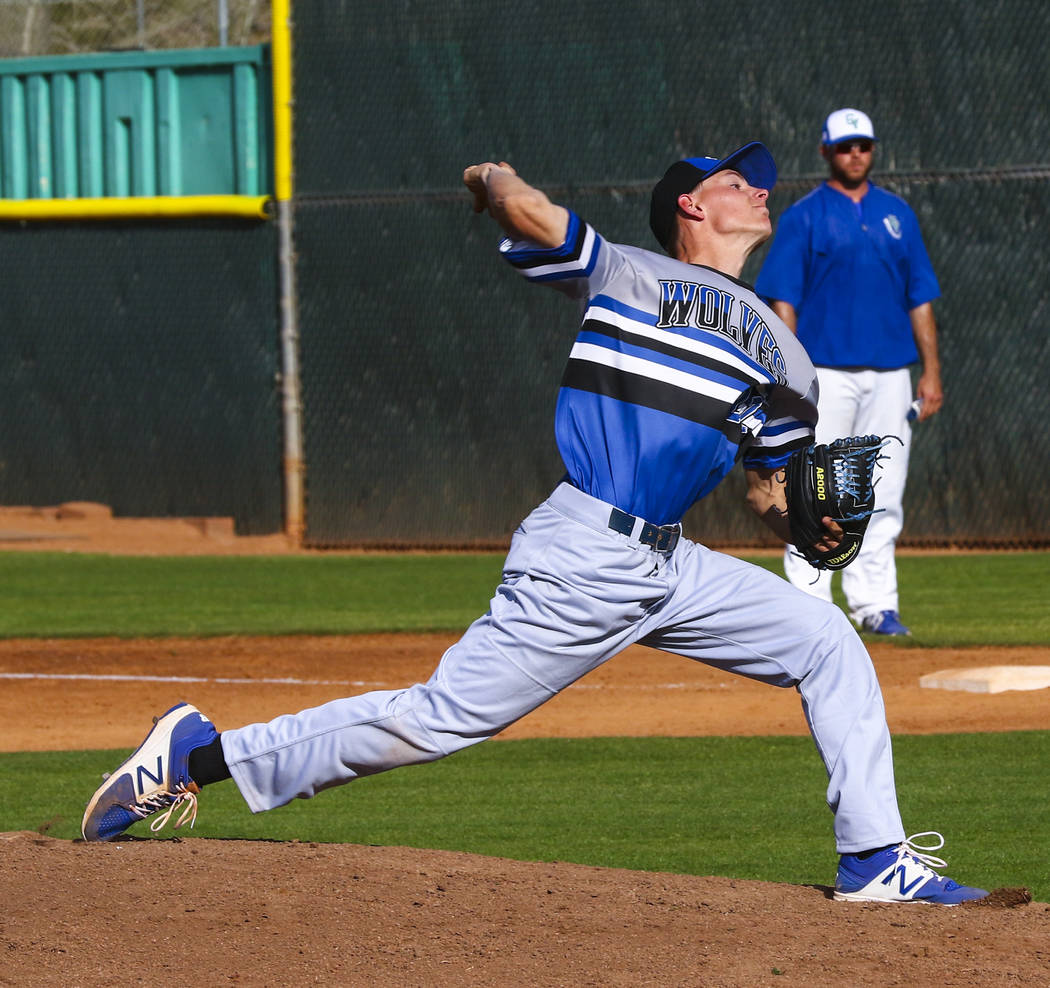 Basic pitcher Shane Spencer (22) throws during a baseball game against Green Valley High Sch ...