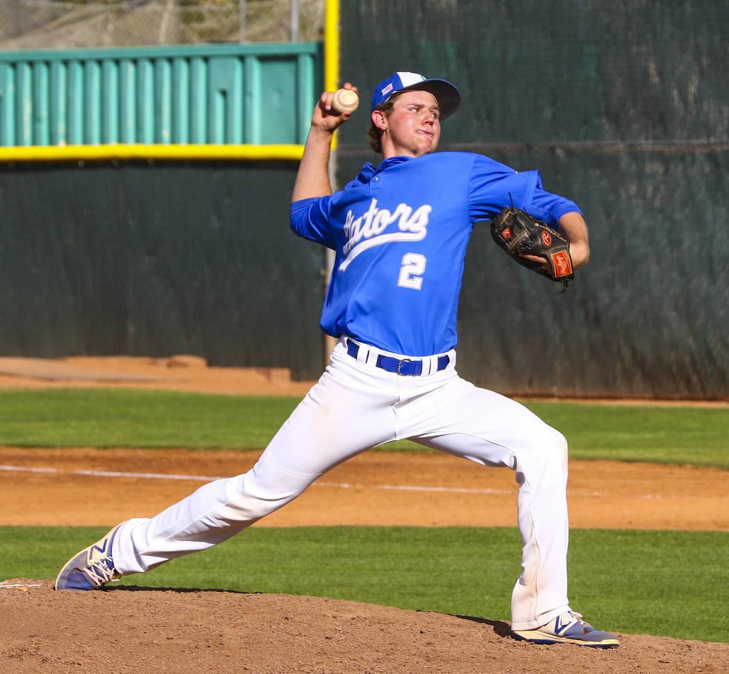 Green Valley pitcher Matt Gilbertson (2) throws during a baseball game against Basic High Sc ...