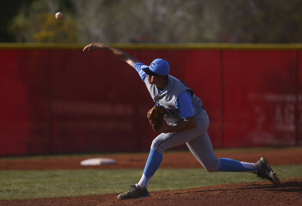 Centennial's Kyle Horton (34) pitches to Arbor View during a baseball game at Arbor Vi ...