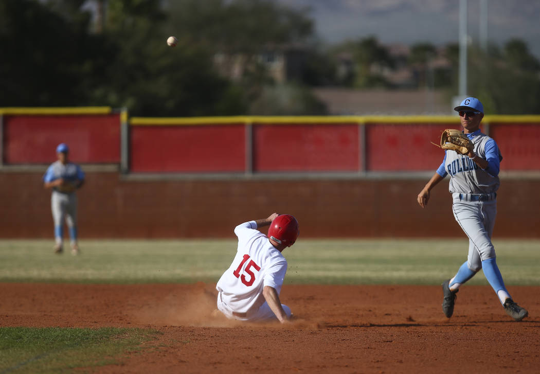 Arbor View's Jacob Hamilton (15) slides into second base against Centennial's Br ...