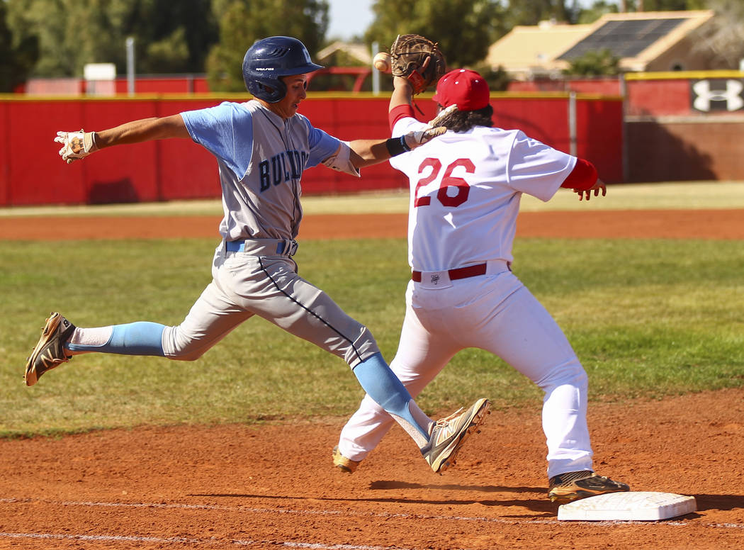 Centennial's Zachary Hare (5) is tagged out by Arbor View's John Edwards (26) at ...