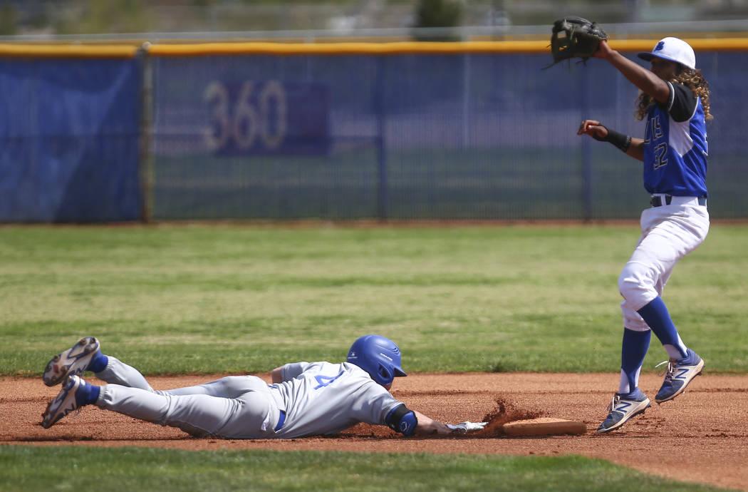 Santa Margarita's Conner Longrie (4) slides safely back to second base against Basic&# ...