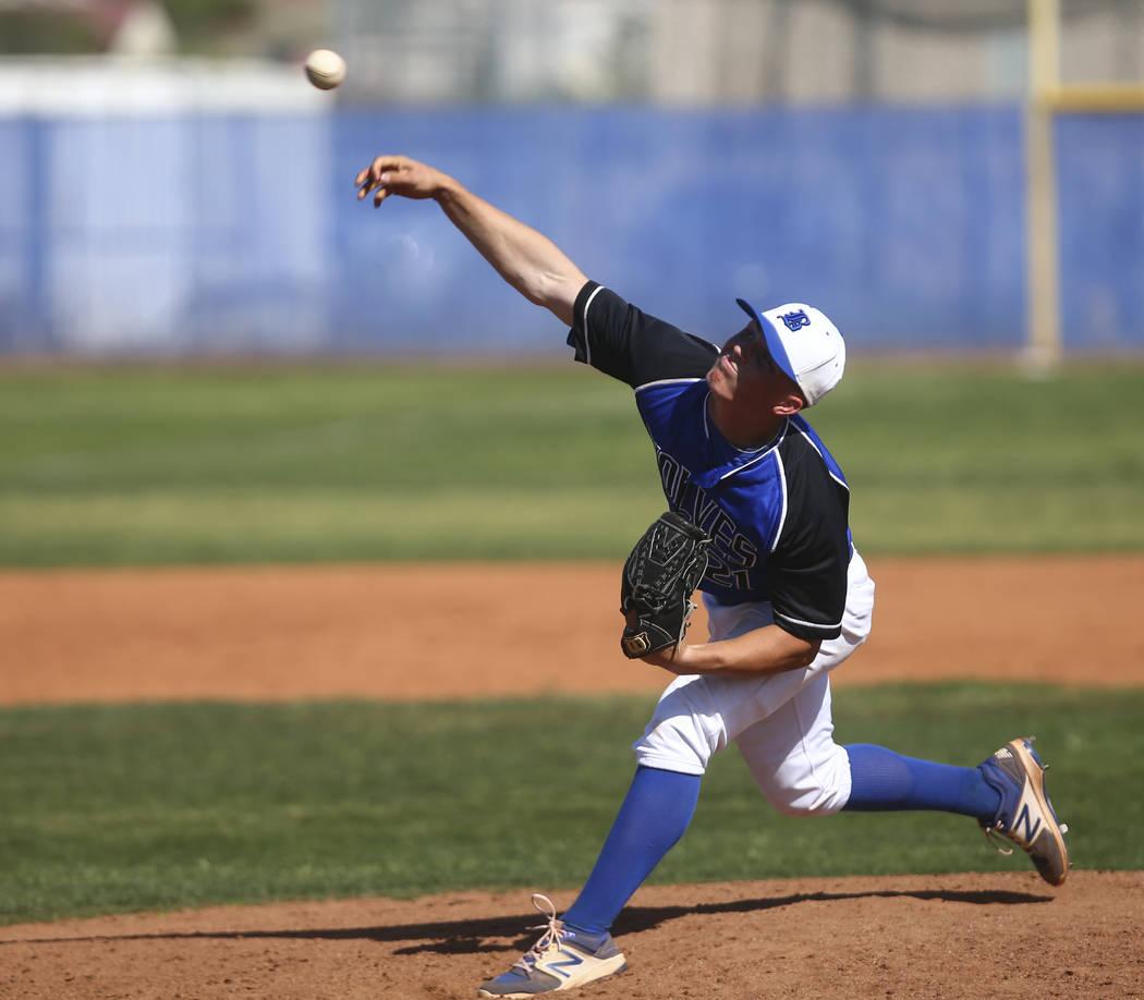 Basic's Paul Myro (21) pitches to Santa Margarita during a baseball game at Basic High ...