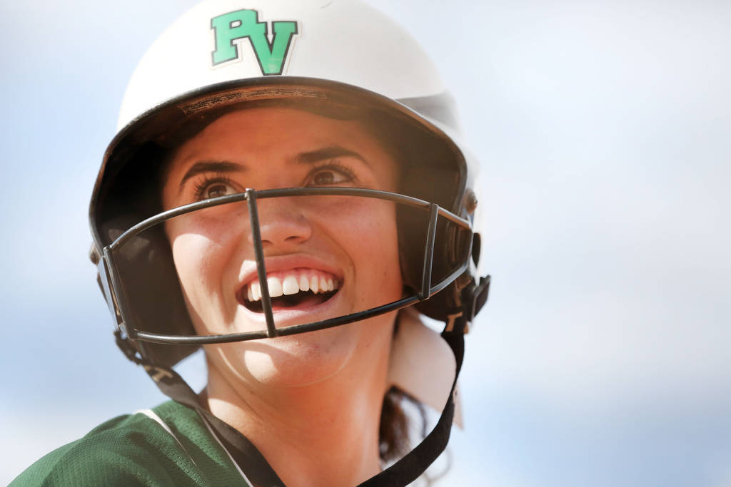 Palo Verde's Cara Beatty (5) smiles after her teammates make a run against Arbor View ...