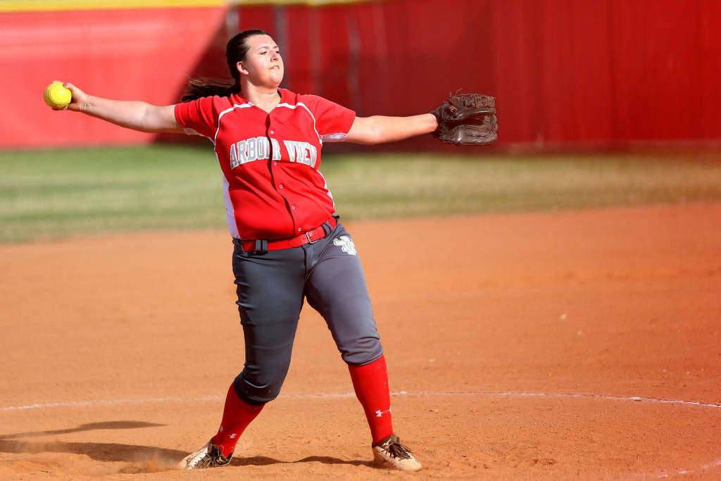 Arbor View's Taylor Thomas (19) pitched during a game against Palo Verde at Arbor View ...