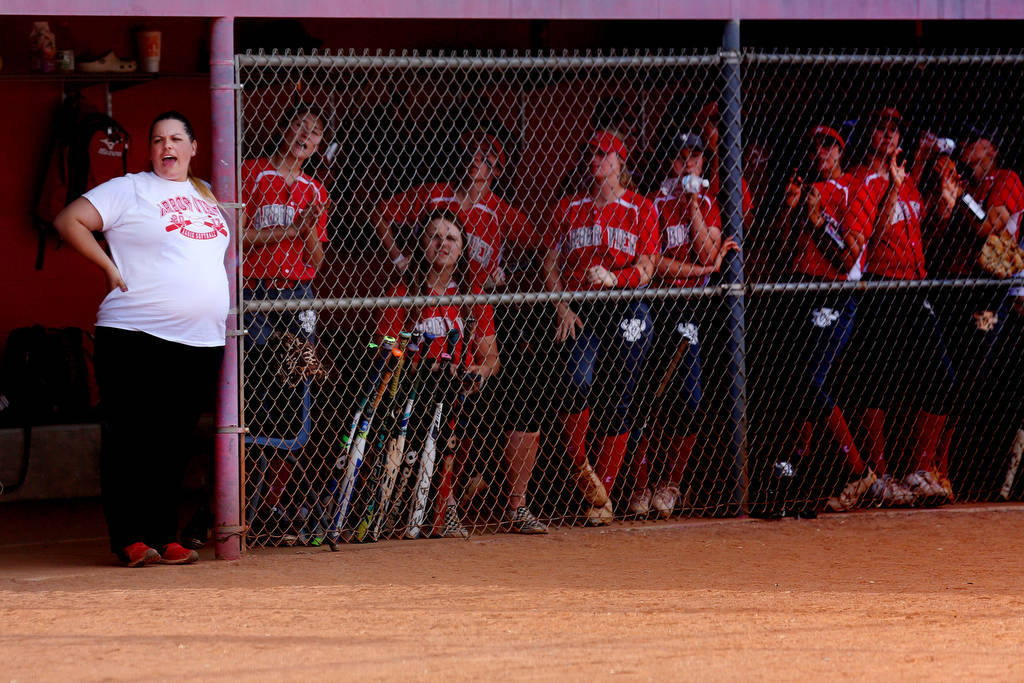 Arbor View head coach Maria Yoder, left, cheer on her team during a game against Palo Verde ...