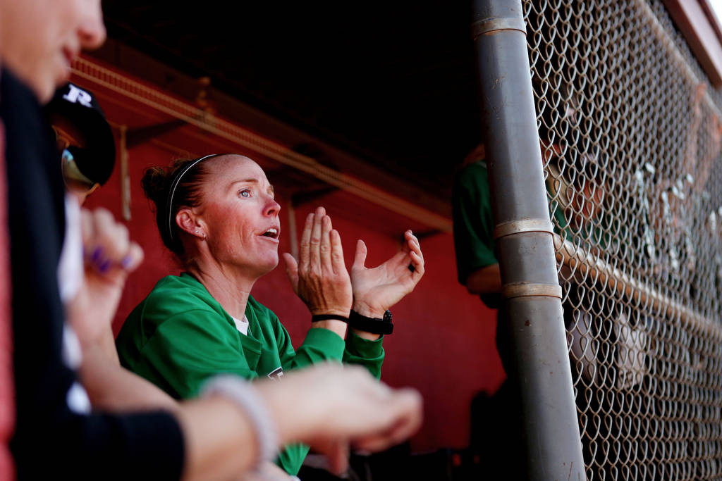Palo Verde head coach Kelly Glass cheers on her team during a game against Arbor View at Arb ...