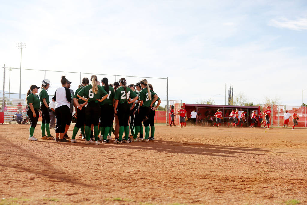 The Palo Verde softball team meets during a game against Arbor View at Arbor View High Schoo ...