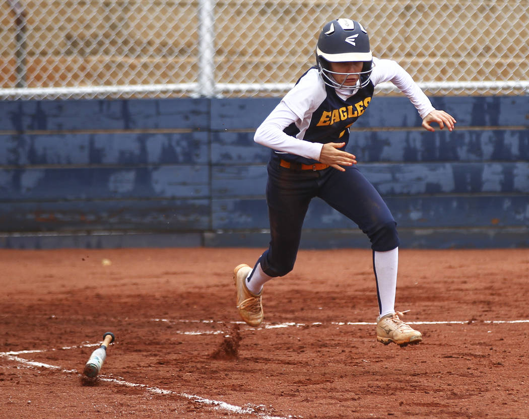 Boulder City's Ryann Reese (2) runs for first base during a softball game against Pahr ...