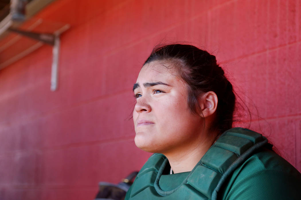 Palo Verde's Grace Chavez (25) watches her team play against Arbor View at Arbor View ...
