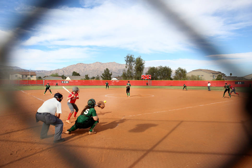 Catcher for Palo Verde Grace Chavez (25) catches the ball during a game against Arbor View ...