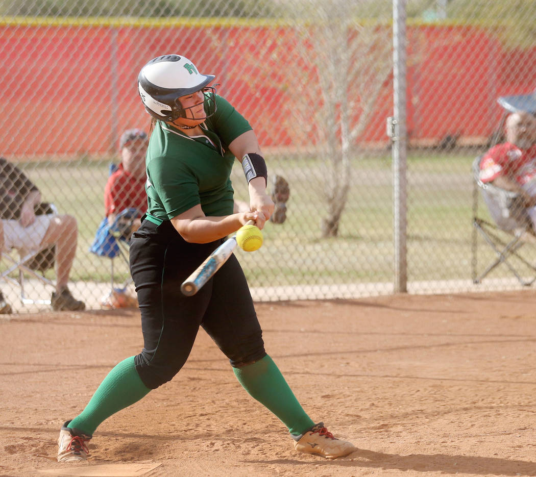 Palo Verde's Grace Chavez (25) hits the ball during a game against Arbor View at Arbor ...