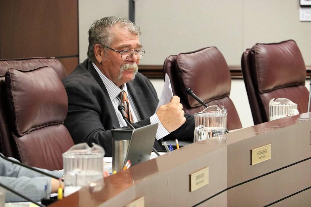 Sen. Pete Goicoechea, R-Eureka, asks a question on SB170, which seeks to improve Nevada&#x57 ...