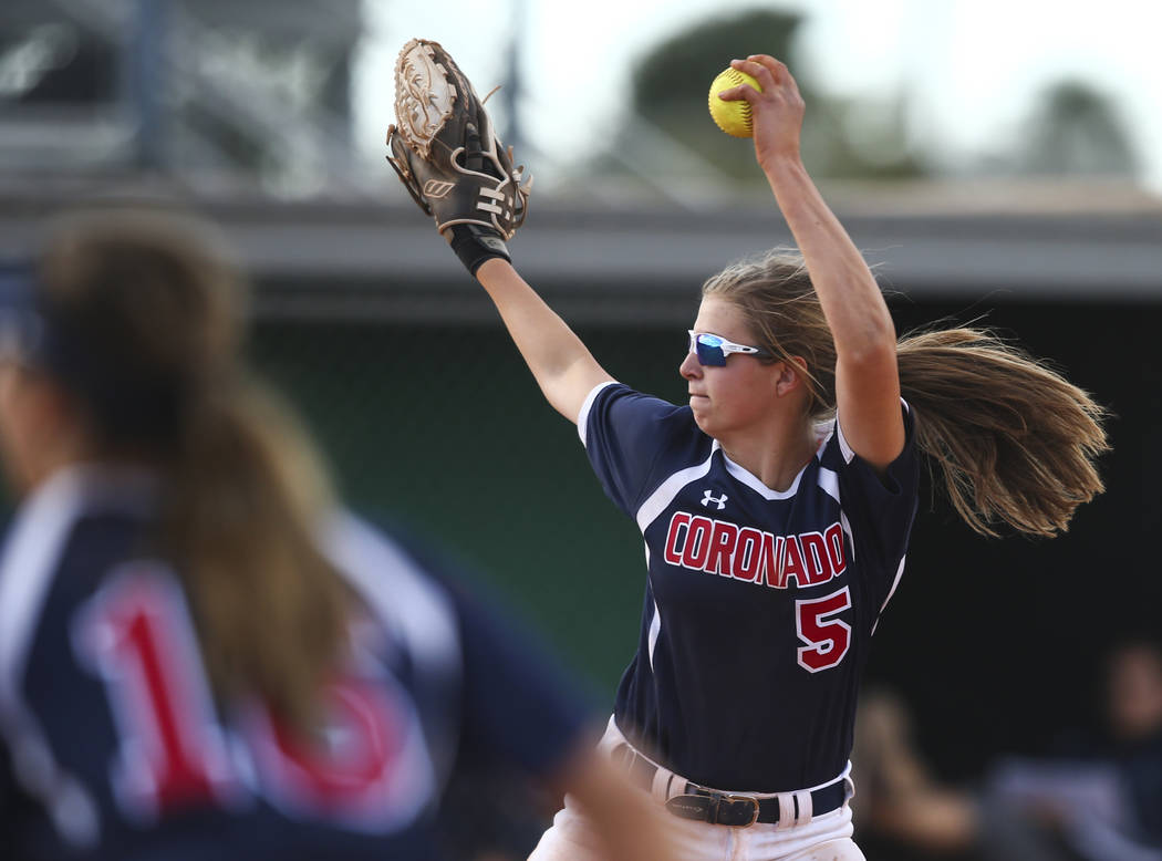Coronado's Tatum Spangler (5) pitches to Rancho during a softball game at Rancho High ...