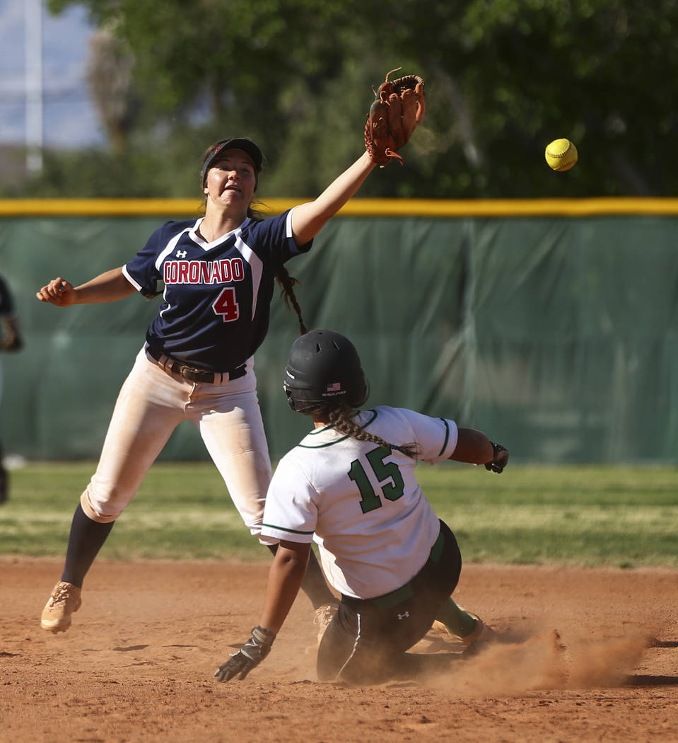 Rancho's Yvette Sanchez (15) makes it to second base as Coronado's Dylan Underwo ...