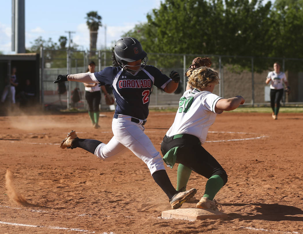 Rancho's MacKenzie Perry (20) catches the throw to get out Coronado's Alexis Oka ...
