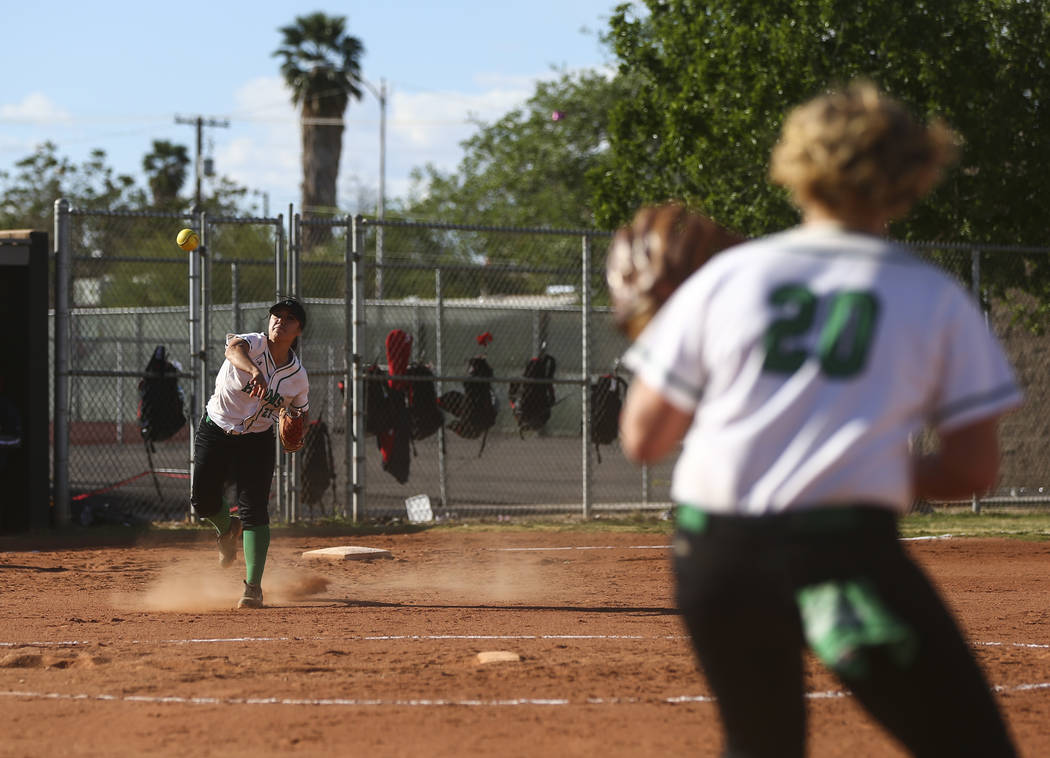 Rancho's Katerina Anthony (27) throws to Rancho's MacKenzie Perry (20) during a ...