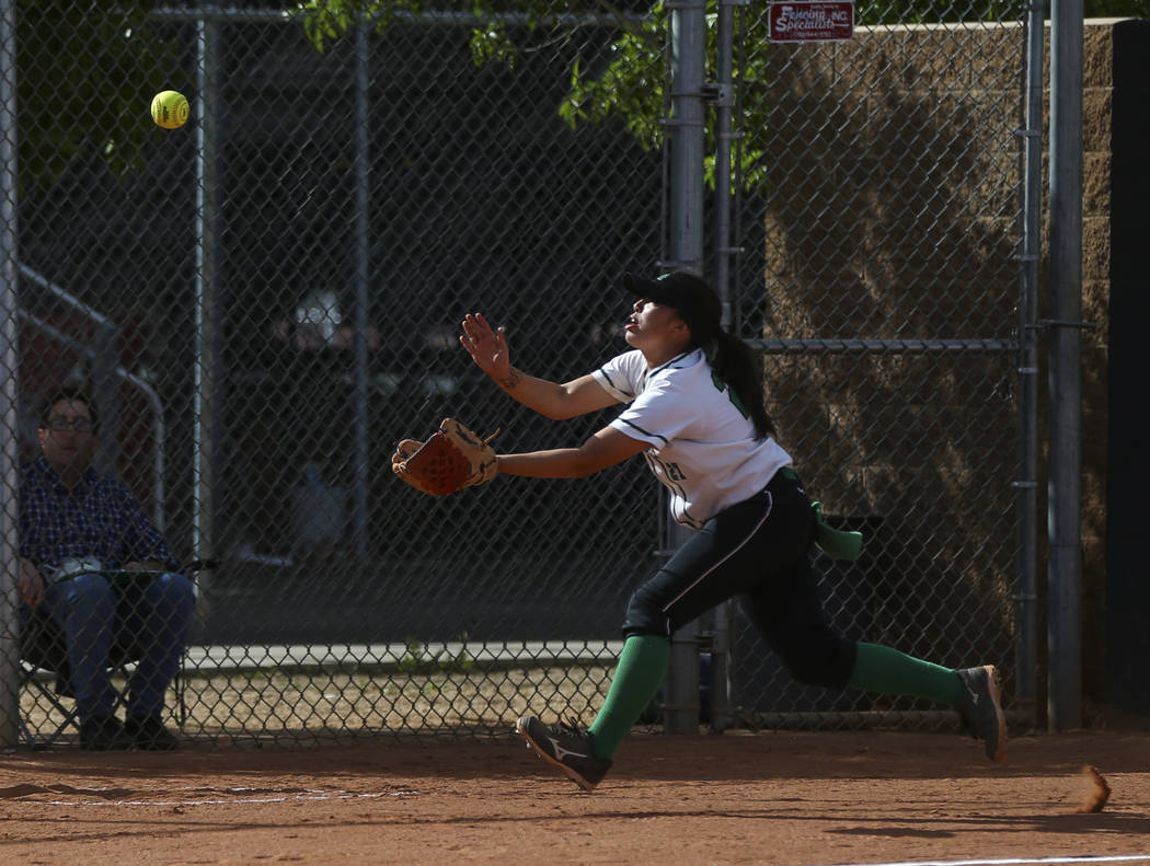 Rancho's Katerina Anthony (27) reaches out to catch a foul ball to get out Coronado&#8 ...