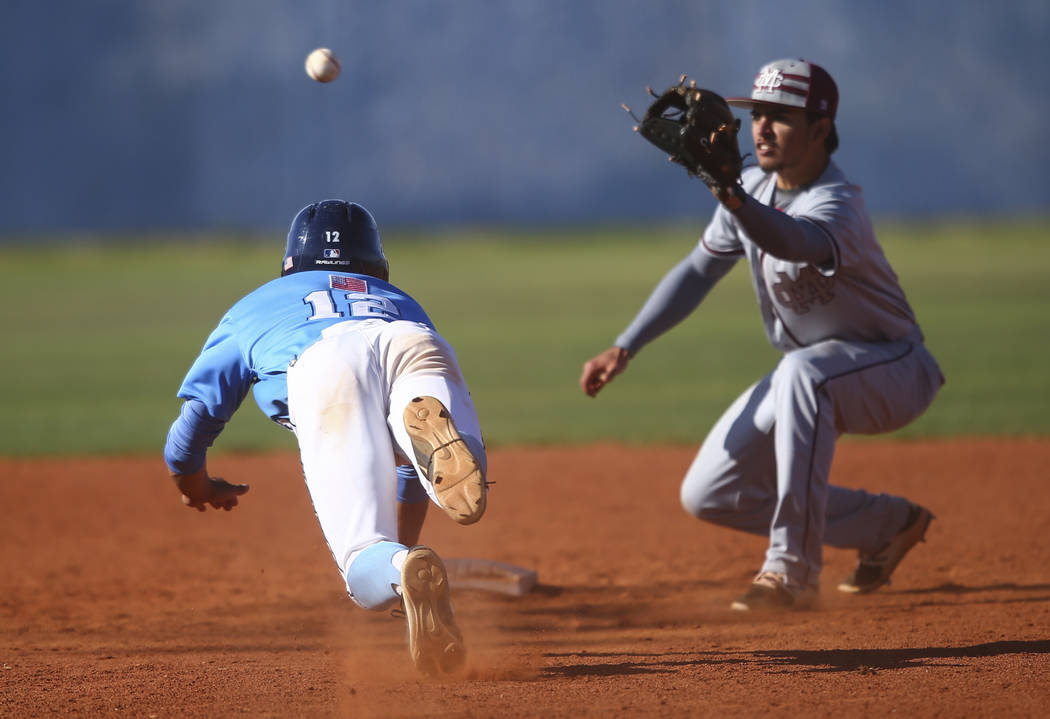 Centennial's Gino Sabey (12) gets tagged out by Cimarron-Memorial's Daniel Valdi ...