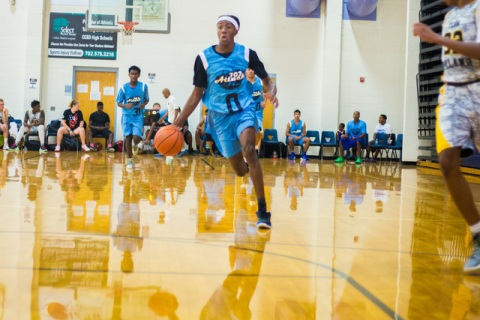 Je'rell Springer, Shadow Ridge High's Gaurd, plays for 702 Attack in the Fab 48 ...