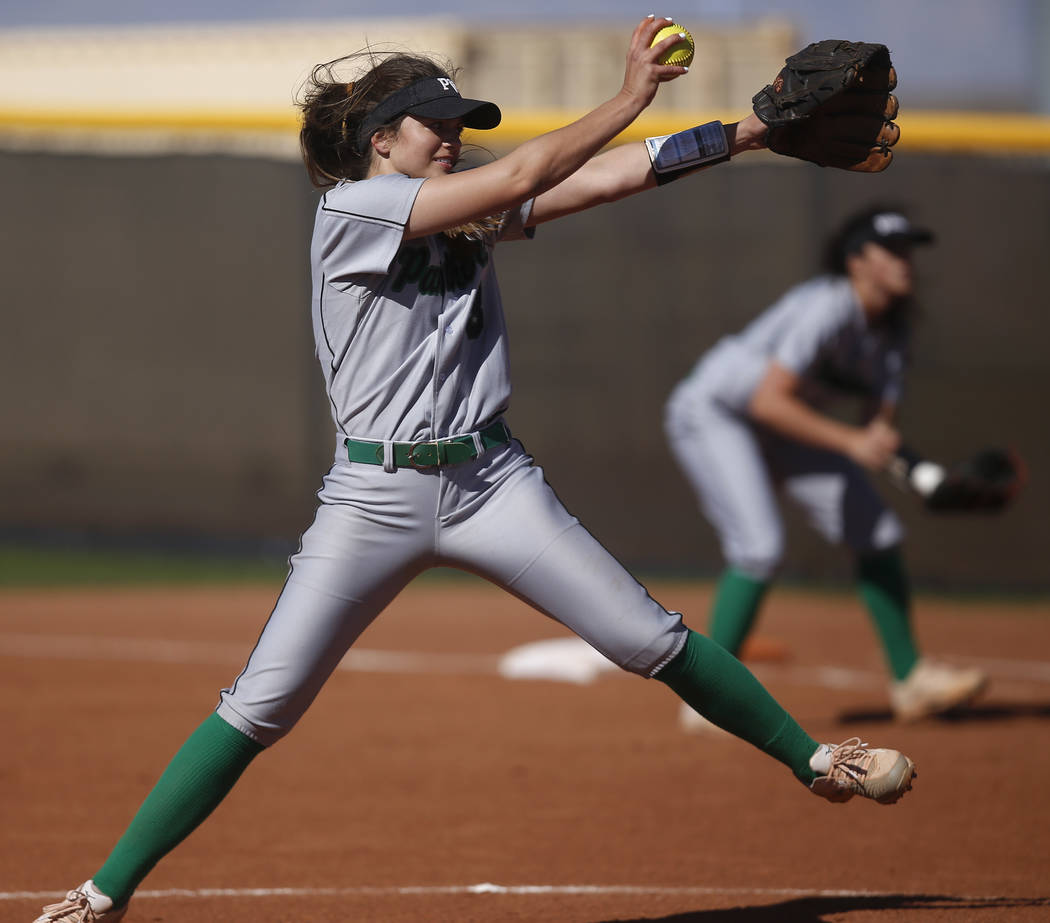 Palo Verde's Taylor Askland (3) pitches during the first inning of a high school softb ...