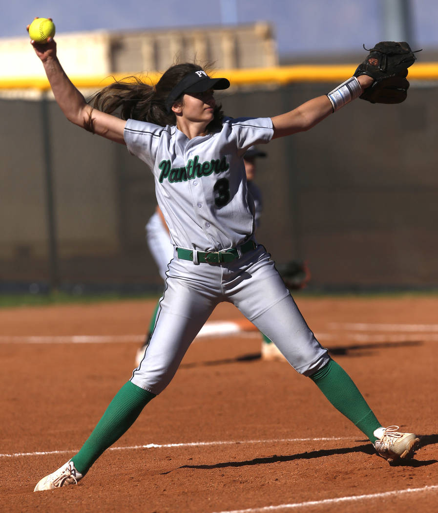 Palo Verde's Taylor Askland (3) pitches during the third inning of a high school softb ...