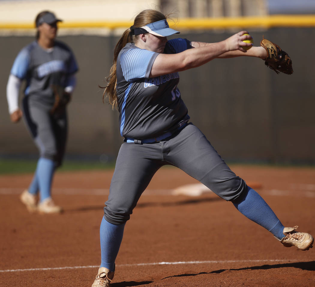Centennial's Amanda Sink (13) pitches during the third inning of a high school softbal ...