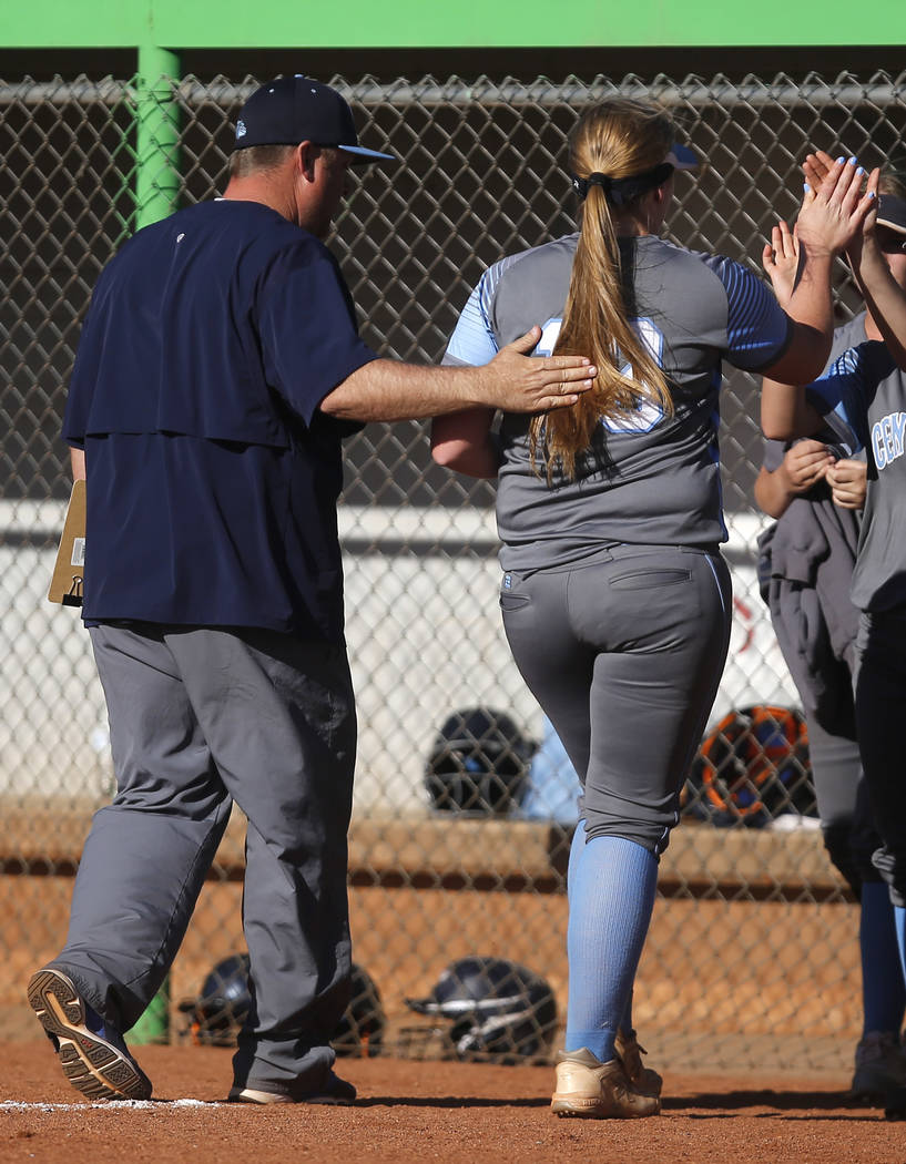 Centennial's Amanda Sink (13) is relieved from pitching during the fourth inning of a ...