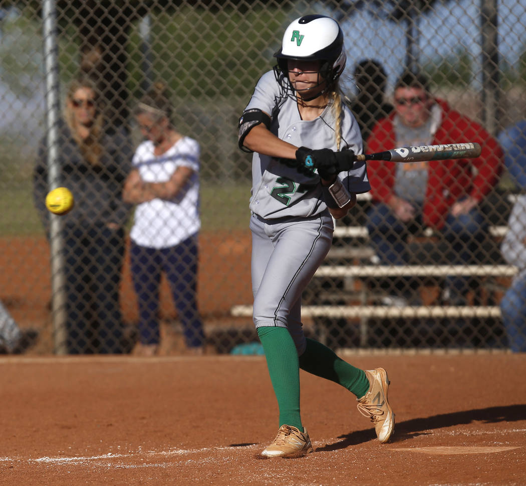 Palo Verde's Camden Zahn (27) swings during the fifth inning of a high school softball ...