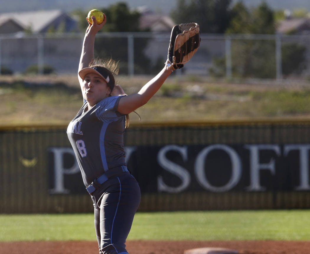 Centennial's Haylee Lupinetti (8) pitches during the sixth inning of a high school sof ...