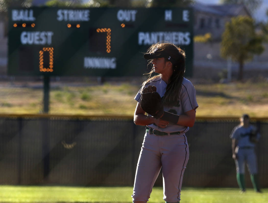 Palo Verde's Taylor Askland (3) during the seventh inning of a high school softball ga ...