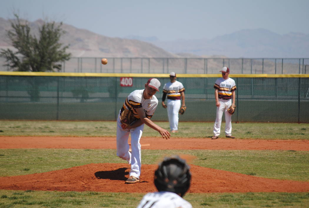 Pahrump Valley's Willie Lucas throws a pitch on Wednesday against Mojave. Lucas fired ...