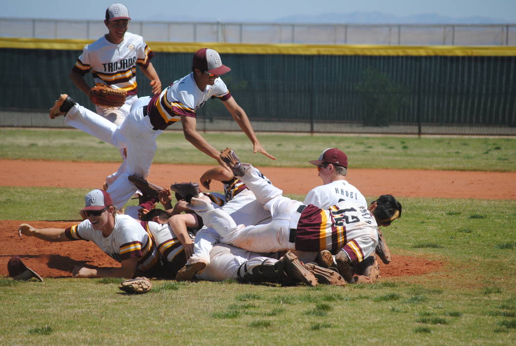 Pahrump Valley players celebrate Willie Lucas' no-hitter on Wednesday. The Trojans bea ...