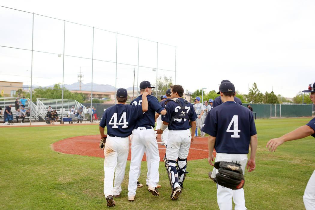 Spring Valley celebrates its 11-3 win against Sierra Vista High School at Spring Valley High ...