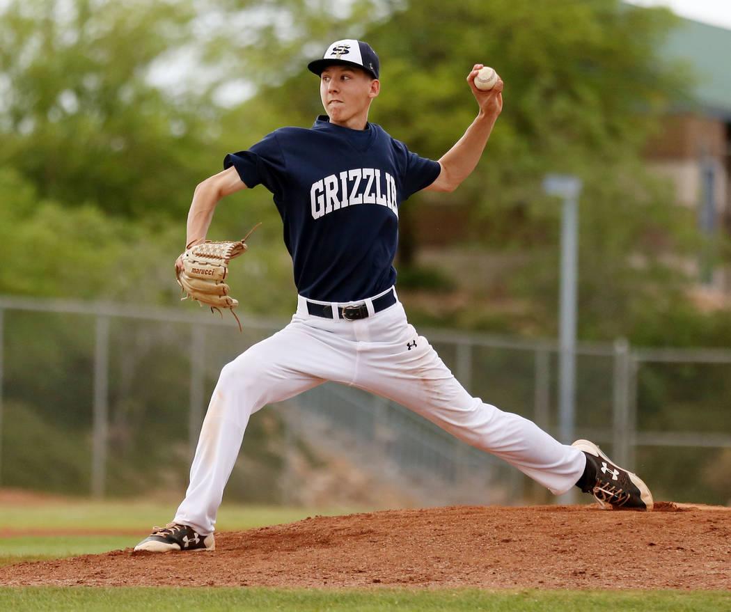 Spring Valley's Braxton Bruschke pitches against Sierra Vista High School at Spring Va ...
