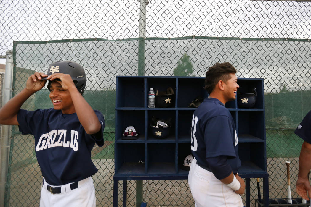 Spring Valley's Mitchell Otis, left, and Braxton Bruschke, in the dugout during a game ...