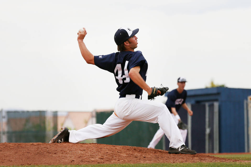 Spring Valley's Nick Rupp (44) pitches against Sierra Vista High School at Spring Vall ...