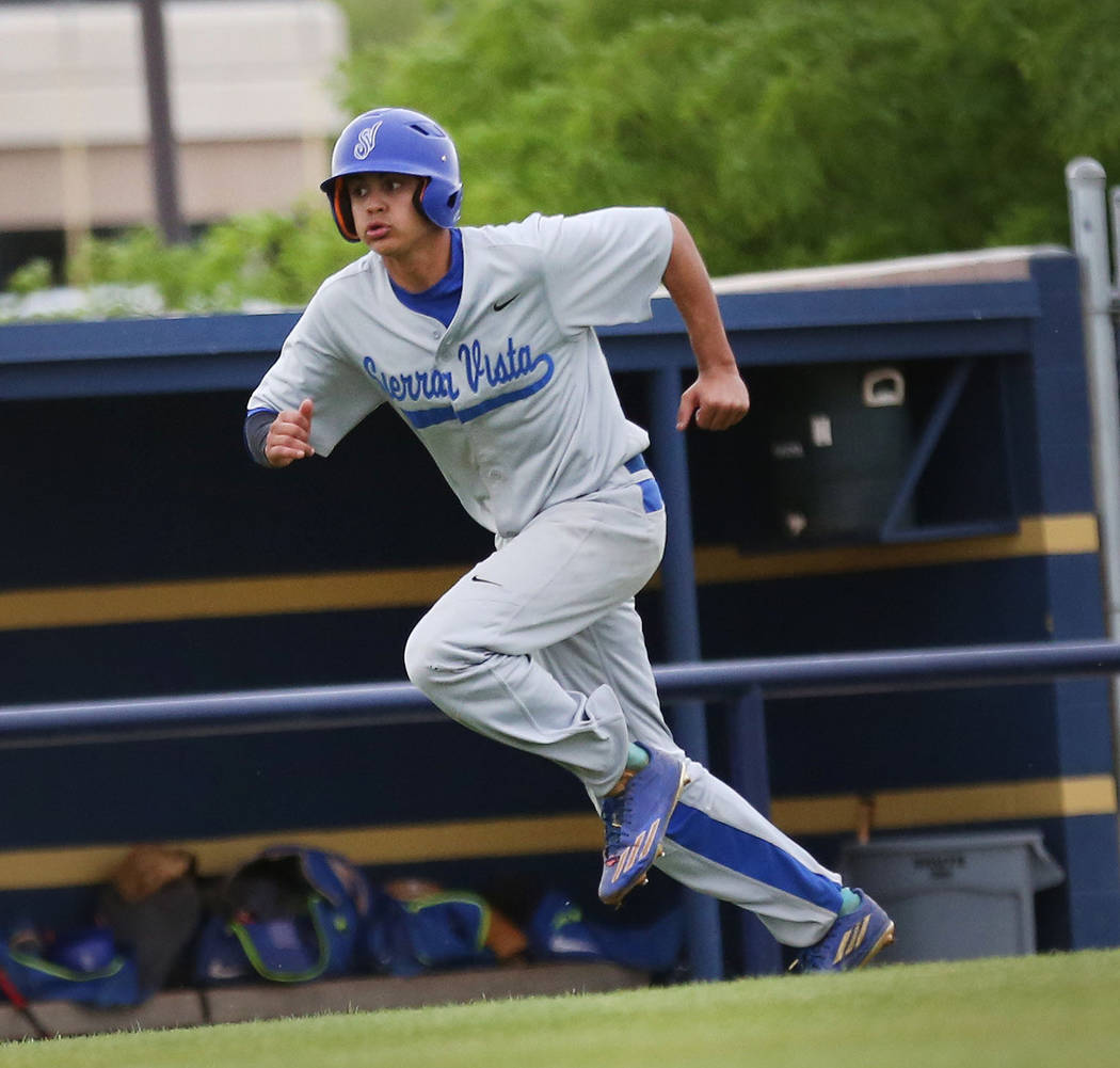 Sierra Vista's Nick Morice runs to home to score in the fifth inning against Spring Va ...