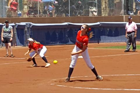 Coronado junior Tatum Spangler delivers a pitch in the first inning of the Class 4A Sunrise ...