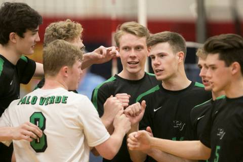 Palo Verde players celebrate a play during a match against Coronado for the Sunset Region vo ...